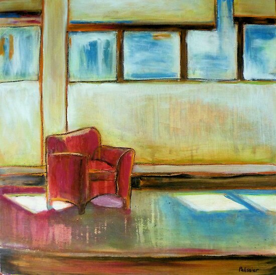 Waiting, mixed media on canvas by Sandrine Pelissier
