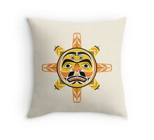 Sun in A Native American Style from the Pacific Northwest. Throw Pillow