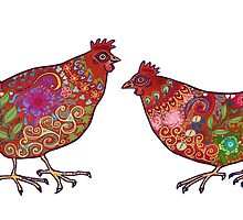 Red Chickens by Vicky Stonebridge