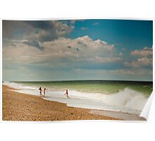 Fun in the sea at Cley Poster