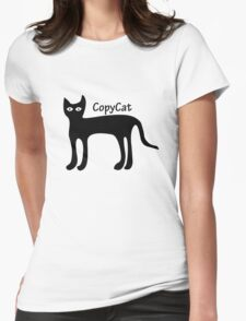 Black copy cat vintage geek funny nerd Womens Fitted T-Shirt
