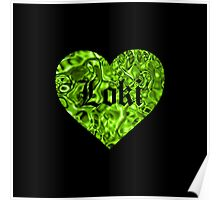 Love Loki on Black (Grass-Green Liquid Metallic) Poster
