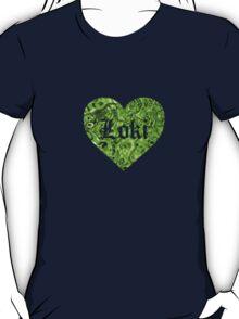 Love Loki on Black (Grass-Green Liquid Metallic) T-Shirt