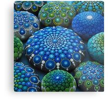 Cool Tone Mandala Stone Collection Metal Print
