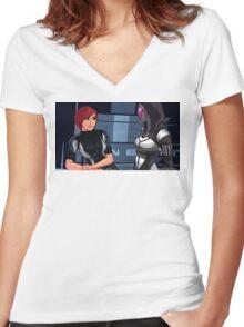 Mass Effect Cartoon - Tali Women's Fitted V-Neck T-Shirt