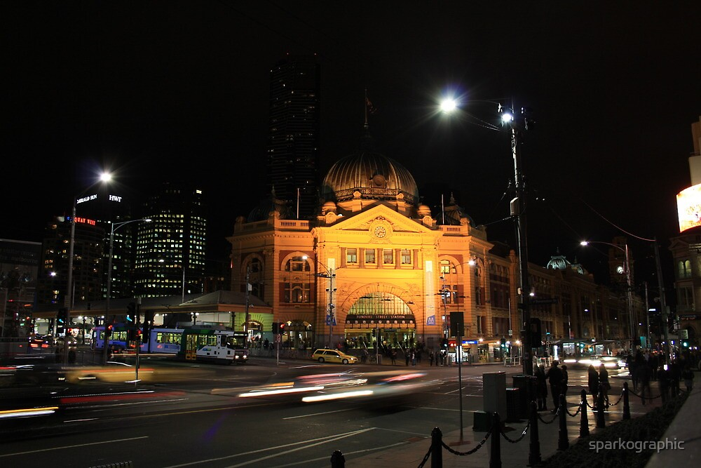 Flinders Street by Night - Melbourne by sparkographic