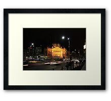 Flinders Street by Night - Melbourne Framed Print