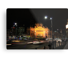 Flinders Street by Night - Melbourne Metal Print