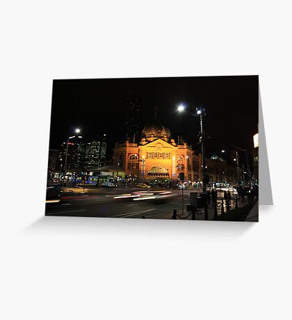 Flinders Street by Night - Melbourne Greeting Card