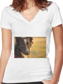 Man's Best Friend Women's Fitted V-Neck T-Shirt