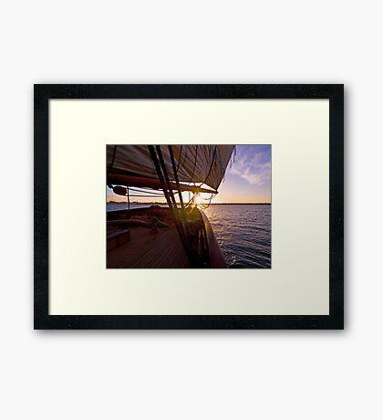 We set sail at sunset Framed Print