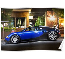 Bugatti Veyron Blue and Black Poster