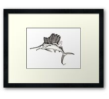 Surfing the fish Framed Print