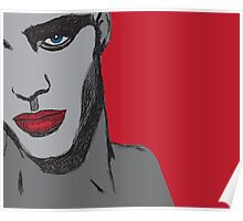 Male face with red lips Poster