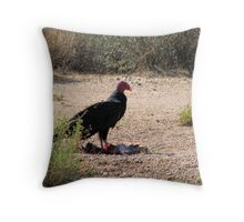 """Dinner is served"" Turkey Vulture Throw Pillow"