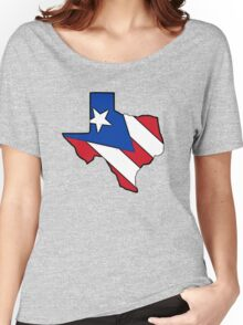 Texas outline Puerto Rico flag Women's Relaxed Fit T-Shirt