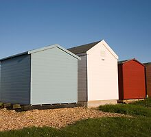 Colourful beach huts in Calshot by Ian Middleton