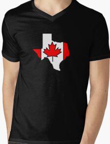 Texas outline Canada flag Mens V-Neck T-Shirt