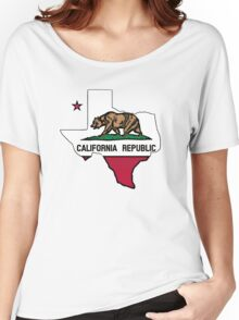 Texas outline California flag Women's Relaxed Fit T-Shirt