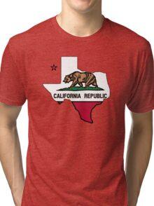 Texas outline California flag Tri-blend T-Shirt