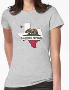 Texas outline California flag Womens Fitted T-Shirt