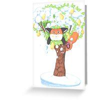 A Fat Fox In A Pear Tree Greeting Card