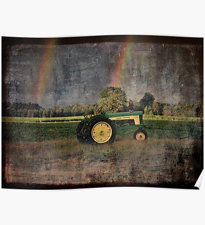 John Deere Double Rainbow Poster