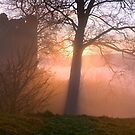 Misty sunset at Kendal Castle by Dave Lawrance