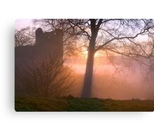 Misty sunset at Kendal Castle Canvas Print