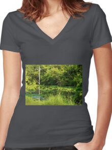 Moore's Bayou In High Summer Women's Fitted V-Neck T-Shirt