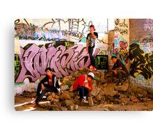 Graffiti Crew Among Rubble Canvas Print