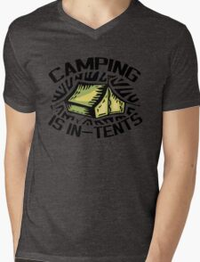 Camping is In-Tents. Mens V-Neck T-Shirt