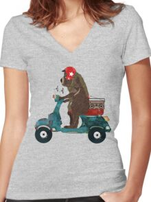 scooter bear Women's Fitted V-Neck T-Shirt