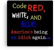 Code Red White and Blue Canvas Print