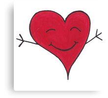Happy Red Heart Hug Cartoon Canvas Print