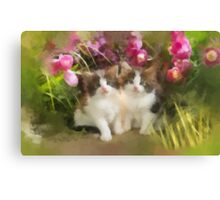 Snuggleing with the Flowers Canvas Print