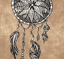 Hipster dreamcatcher feathers vintage paper  by GirlyTrend