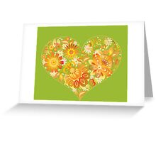 Yellow floral heart Greeting Card