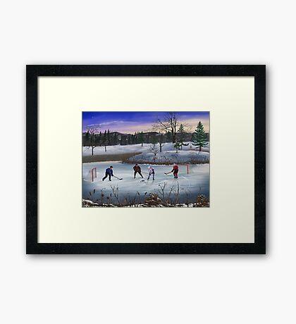 Pond Hockey Framed Print