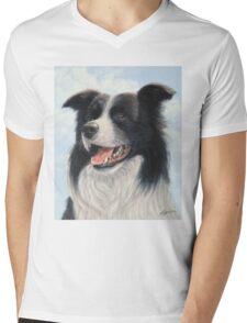 Border Collie Portrait Mens V-Neck T-Shirt