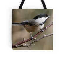 Chickadee in Autumn: A Poem in Feathers Tote Bag