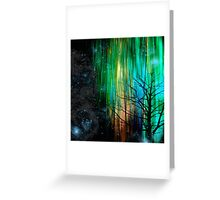 Night Lights in Aqua, Green, and Gold Greeting Card