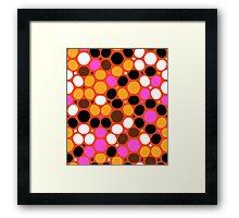 Pink orange polka dot print Framed Print