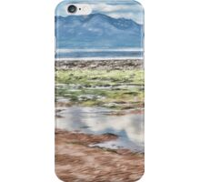 Beach Drawing with Blue Mountains iPhone Case/Skin
