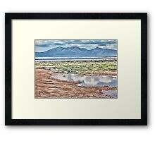 Beach Drawing with Blue Mountains Framed Print