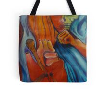 3 of Stakes Tarot Skull Face Woman Tote Bag