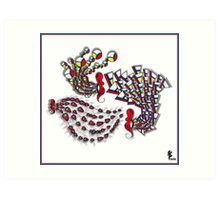 Deco Seahorses Art Print
