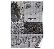 Black and White Fabric Collage Poster