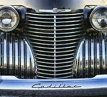 Black Cadillac Grill and Headlights by rharrisphotos