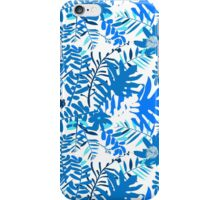Floral pattern with tropical leaves and flowers in blue iPhone Case/Skin